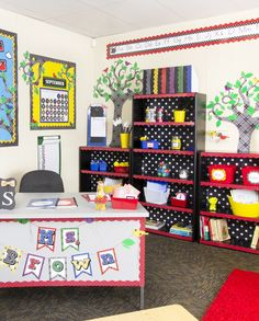 Love the bookcases! Apple Theme Classroom, Red Classroom, Polka Dot Classroom, First Grade Classroom, Classroom Setting, Classroom Design, Classroom Themes, Primary Classroom, Music Classroom