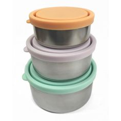 Ever Eco Round Nesting Containers - Pack snacks, baby meals, lunches and picnics to enjoy on the go while saying good riddance to plastic! An alternative to plastic containers, these stainless steel nesting containers are ideal to use alone for snacks and baby feeding, or inside a lunchbox to separate food. A waste-free food storage essential for kids and adults. #plasticfree #zerowaste #trashisfortossers #aff