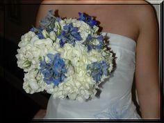 Hydrangea and blue delphinium