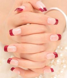 French Nails Tips Natural Simple Design Short Full Cover faux ongles with Glue Sticker for Home Office Red Tip Nails, Colour Tip Nails, Glitter Nails, Nail Colors, French Acrylic Nails, French Tip Nails, Cute Nails, Pretty Nails, Nail Deco