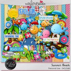 Summer Beach - digital scrapbooking kit from Keley Designs. This summer and beach inspired kit is so cute, it will make your layouts pop.