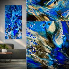 """POSEIDON'S KISS. This beauty is now available for purchase at TIMWEBB.COM. The details are stunning in this heavenly array of beautiful metallic silvers, contrasting whites, and rich cobalt blues. Look at closeup detailed views of this 15""""x 30""""abstract and different settings on my website. Thank you to Alexis Webb for creating the perfect name. Thank you!!❤️"""