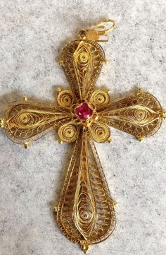 Art Deco Antique Stamped 18K Yellow Gold Cross With Simulated Ruby in Jewelry & Watches, Vintage & Antique Jewelry, Fine | eBay