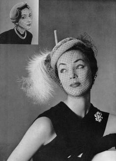 Ivy Nicholson and unidentfied model (insert) both in velvet and voilette hats by Rose Descat, photo by Pottier, 1951