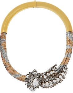 Shourouk-shourouk aigrette goldplated swarovski crystal and sequin necklace