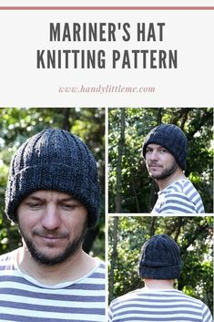 Make a ribbed Mariner's hat with this free and easy to print out pattern. Perfect for fall/winter weather and days spent on the water! Chunky Hat Pattern, Beanie Knitting Patterns Free, Beanie Pattern Free, Free Knitting, Crochet Patterns, Hat Patterns, Beginner Knitting Patterns, Easy Knit Hat, Knit Hat For Men