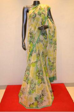 Printed Pure Silk Chiffon Saree - Elegant Color
