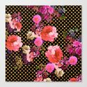 Elegant Pink Vintage Flowers Black Gold Polka Dots Art Print by Girly Trend | Society6