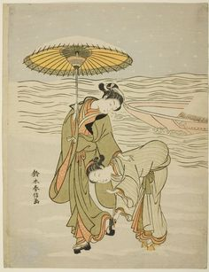 (Japan) Snow-clogged Geta by Suzuki Harunobu (1725- 1770). woodblock print. ink and color on paper.