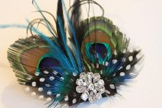 Peacock Feather Fascinator Wedding by Madelinelittleboutiq on Etsy, $21.95