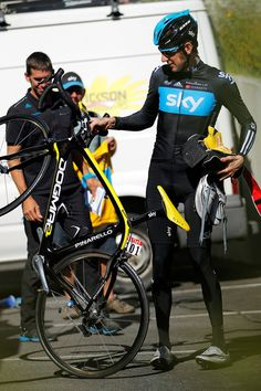 """Race leader Bradley Wiggins of GBr riding for Sky Procycling prepares for a training ride during the second rest day of the 2012 Tour de France on July 17, 2012 in Pau, France"""
