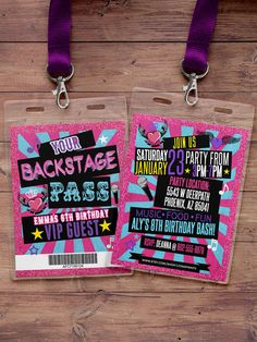Retro neon VIP PASS backstage pass Vip invitation by LyonsPrints
