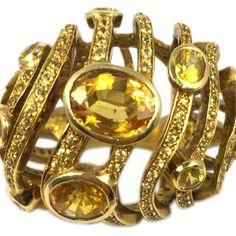 Citrine & Yellow Diamond Boule Ring I
