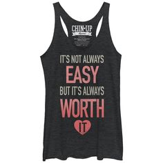 CHIN UP Women's - It's Not Always Easy Racerback Tank #fitness #workout #motivational