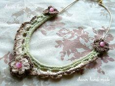 * Charin Hand made *コットンお花のモチーフネックレス / グリーン&ブラウン系