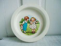 Vintage Hall China Childrens Dish Bowl . Two Children