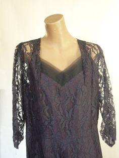 Stunning Vintage 1930s 1940s Lace Dress Sz XL by VintageZipper, $45.00