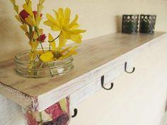 Rustic wood shelf, distressed shabby chic, Antique White, cottage beach home decor,wall shelves. $42.00, via Etsy.