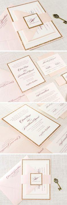 Blush Shimmer, Rose Gold Glitter, and Ivory Wedding Invitation and RSVP Card Suite | The Darling Suite #weddinginvitation
