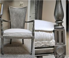 Chair I love this. Not only did Suesan give this chair a metallic silver look, she also took this project a step further by giving the piece of furniture the antique treatment. What she did was spray paint the chair with silver. She made sure to apply several coats. Next she applied an antiquing glaze and then sealed the chair with furniture wax. The result: a beautifully faux-aged silver chair.