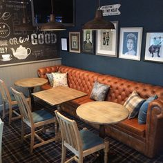Busy handover day at one of our latest pub projects. Great artwork and wallpaper mural just added to the cosiness of this area. Thanks… decor ideas Pub Interior, Bar Interior Design, Pub Design, Restaurant Interior Design, Loft Design, Restaurant Furniture, Loft Cafe, Deco Restaurant, Modern Restaurant
