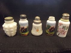 LOT OF 5 VICTORIAN MILK GLASS SALT AND PEPPER SHAKERS