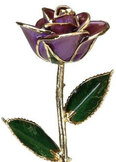 Genuine Purple Rose Preserved Lacquer Dipped 24K Gold Long Stemmed In Gift Box