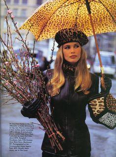 "Vogue US July 1992 ""The long view"" by Arthur Elgort. Models: Susan Holmes, Nadege de Bospertus & Claudia Schiffer."