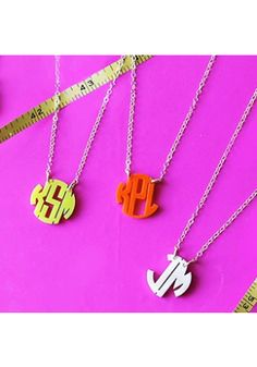 Pint sized #monogram necklaces that pack a punch, Mini Monogram necklaces in 30 acrylic color options! www.SwellCaroline.com