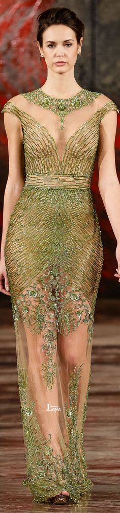 Amazing green beaded dress // Toufic Hatab Couture S/S 2015 Green Evening Dress, Evening Dresses, Green Gown, Beautiful Gowns, Beautiful Outfits, Couture Fashion, Runway Fashion, Traje A Rigor, Green Fashion