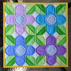 Sew Fresh Quilts: Pretty Posy FREE Quilt Block Tutorial-This simple 9 patch block finishes at square and can be used to make quilts of various sizes. For my sample, I used 4 blocks made from Kona cotton solids, to make this cute mini quilt Quilt Block Patterns, Pattern Blocks, Quilt Blocks, Quilt Kits, Quilting Tutorials, Quilting Projects, Quilting Designs, Quilting Tips, Quilting Board
