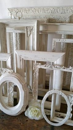 Antique White Picture Frame Set Of 12 Open Empty Frames Shabby Chic Wall Decor Empty Picture Frames, Antique Picture Frames, Wedding Picture Frames, Empty Frames, Picture Frame Sets, Frames On Wall, White Frames, Metal Frames, Shabby Chic Chalk Paint