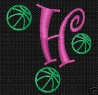 Basketball # 50 Embroidery Font