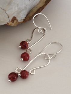 Handmade Sterling Silver Earring Red Sponge by ClassyChicDesigns4u