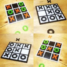 Tic tac toe perler beads by perlerkid                                                                                                                                                     More