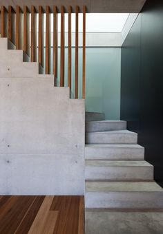 Beautiful concrete and wood stairs