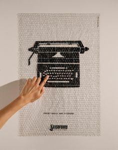 Saxsofunny Sound Production Company: Typewriter #ad #print - advertising bubble wrap