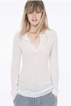 Cashmere Gauze Henley… would be better in black or blue.