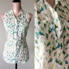 Vintage Parakeet Top Vintage Blouse Sleeveless by JacobandCharlies