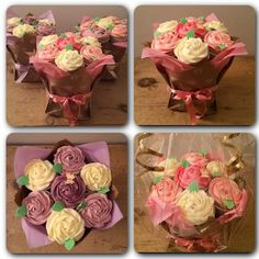 How to make a cupcake bouquet - Melanie Rose Makes Cupcake Flower Bouquets, Floral Cupcakes, Pretty Cupcakes, How To Make Cupcakes, Garden Cupcakes, Mothers Day Cupcakes, Making A Bouquet, Cake Shapes, Cake Decorating Tips