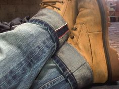 Perfect couple... Yellow boots and my selvedge denims...