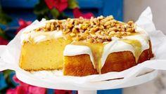 Lemon yoghurt cake with walnut-honey drizzle main image Honey Drizzle Recipe, Lemon Drizzle Cake, Cupcake Recipes, Baking Recipes, Dessert Recipes, Lemon Yogurt Cake, Honey Cake, Lemon Desserts, Xmas Desserts