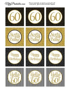 60th Birthday Cupcake Toppers  60th Birthday Party