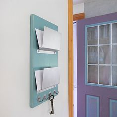 MAIL ORGANIZER: Double Slot Wall Mount Office Home Mail Organization With  Key Hooks
