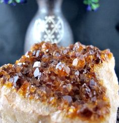 #Citrine #Natural #Geode Piece with #Citrine #Crystals in #Quartz #Matrix ( 370 grams )