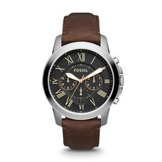 Grant Chronograph Brown Leather Watch - Fossil