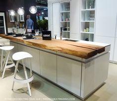 Leicht white kitchen no hardware quilted wall eurocucina trend 2015 | The Decorating Diva, LLC #kitchen #design #trends