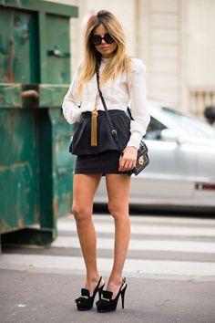 erica pelosini street style gonna nera e camicia bianca