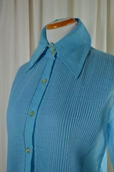 Baby Blue Shirt, Pin Tucked Shirt, Sheer Shirt, Long Sleeve Shirt, French Cuffs, Crisp Shirt, Dead Stock, Spring Blouse, Summer Blouse by BuffaloGalVintage on Etsy