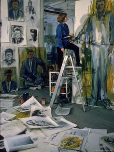 Painter Elaine de Kooning working on John F Kennedy painting in Manhattan studio, New York, NY. Photo by Alfred Eisenstaedt, LIFE. In 1962 Elaine de Kooning was commissioned to paint a portrait of President John F. Kennedy to be hung in the. Artist Art, Artist At Work, De Kooning Paintings, Abstract Expressionism, Abstract Art, Abstract Painters, Elaine De Kooning, Paintings Famous, Famous Artists
